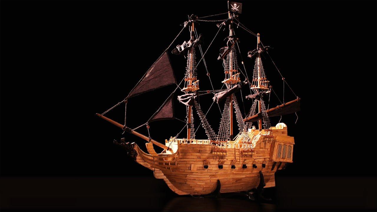 black pearl ship model from ice cream sticks youtube
