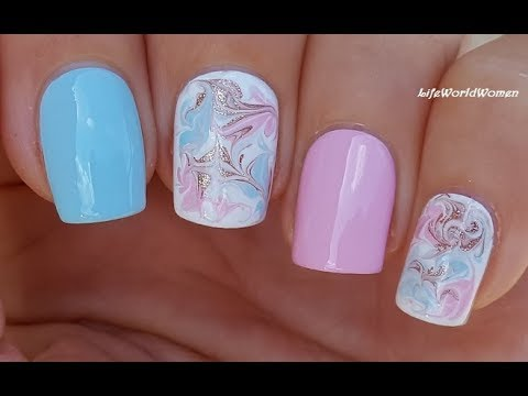 pastel dry marble nails baby blue