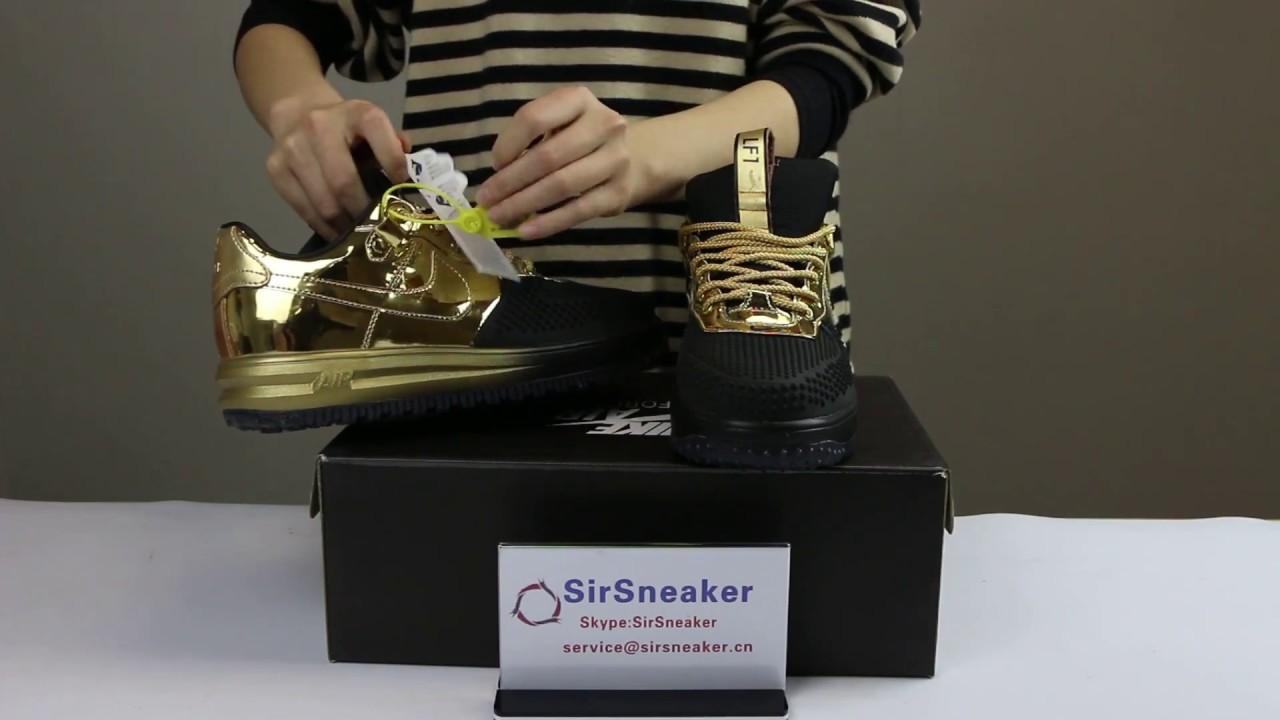 newest 1c195 80739 Nike Lunar Force 1 DuckBoot Low Gold Black 51815 SirSneaker - YouTube