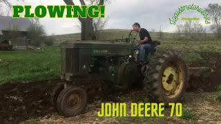 John Deere 70 With Mounted 3 Bottom Plow