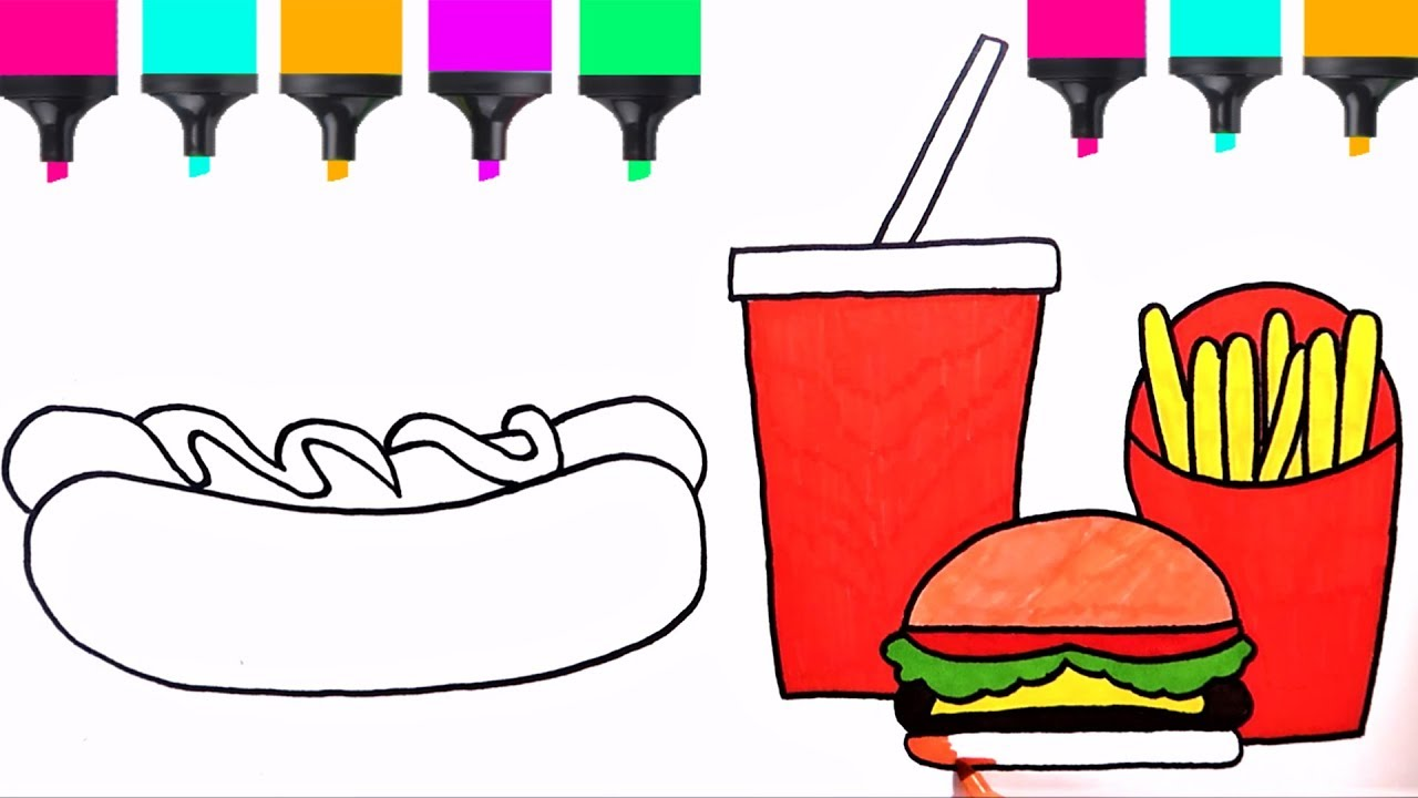 how to draw hotdog soda burger fries easy  coloring pages