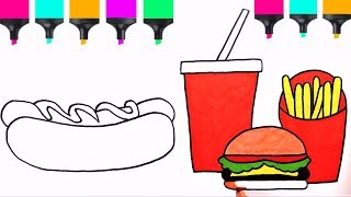 How To Draw Hotdog Soda Burger Fries Easy | Coloring Pages Fastfood | How To Draw Food