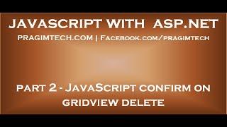 JavaScript confirm on gridview delete