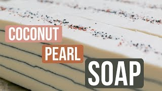 Coconut Pearl Soap w/ Activated Charcoal Lines | Royalty Soaps