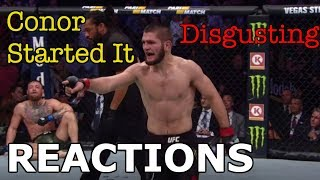 MMA Reacts to Khabib Nurmagomedov Defeating Conor McGregor | Post-Fight Brawl - UFC 229