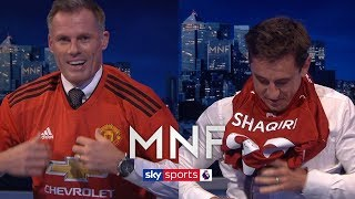 Jamie Carragher and Gary Neville swap Manchester United and Liverpool shirts! | MNF