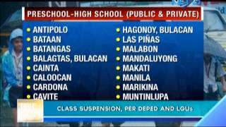 Class suspension, per DepEd and LGUs