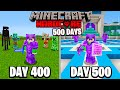 I Survived 500 Days in HARDCORE Minecraft...