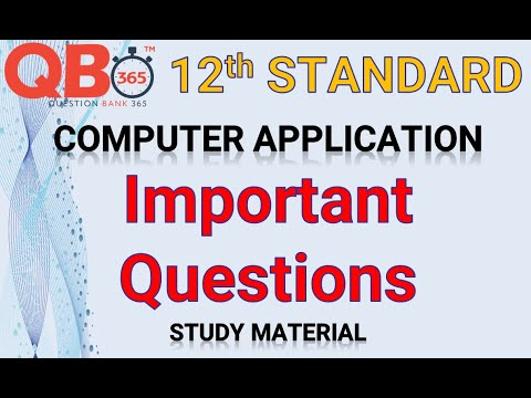 TN   12th Standard Computer Applications - Important Questions With Answer Key