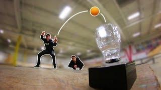 LEVITATING CUP PING-PONG TRICK SHOTS!