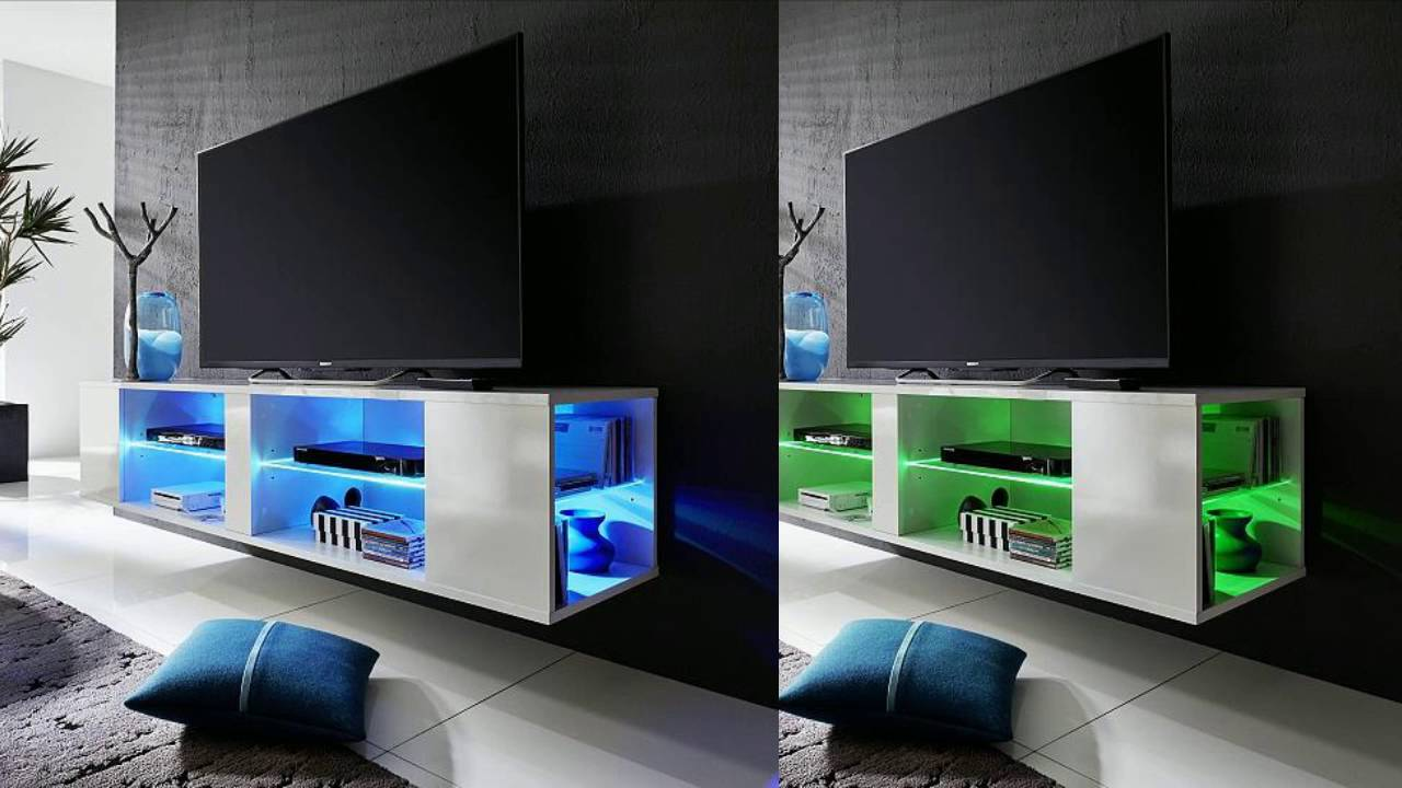 neomi lcd tv stand in white high gloss fronts with led light youtube. Black Bedroom Furniture Sets. Home Design Ideas