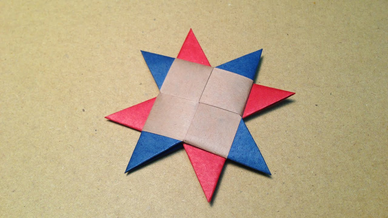 How To Make A Paper Ninja Star Origami Shuriken 8point 3colors