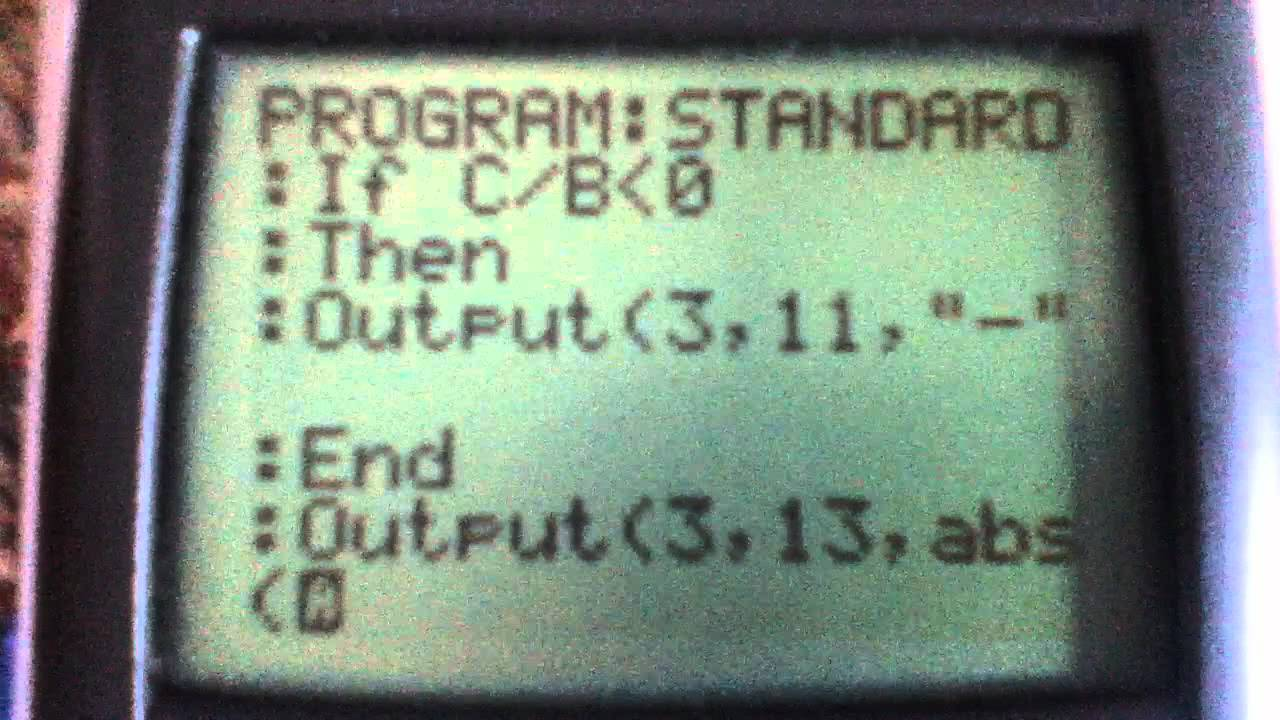 My Program That Changes A Linear Equation From Standard Form To Y=mx+b   Youtube