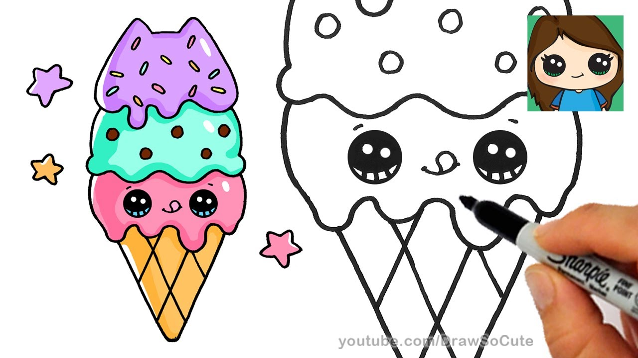 How To Draw Ice Cream Cone Easy Pusheen Youtube
