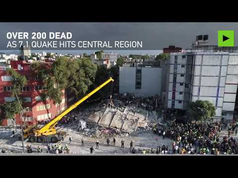Mexico quake aftermath: Over 200 dead, dozens of buildings destroyed (drone footage)
