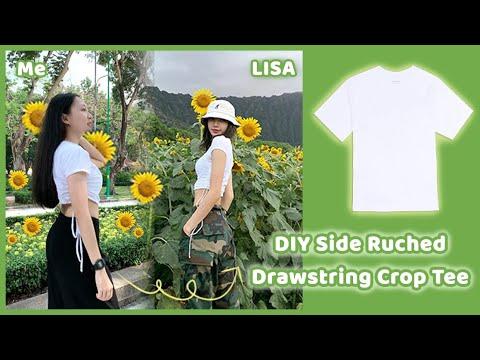 TỰ LÀM ÁO CROP TOP GIỐNG LISA | DIY Side Ruched Drawstring Crop Top 💖