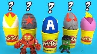 Marvel Avengers Play-Doh Surprise Eggs Guessing Game with Avengers Toys & Team Captain America Toys