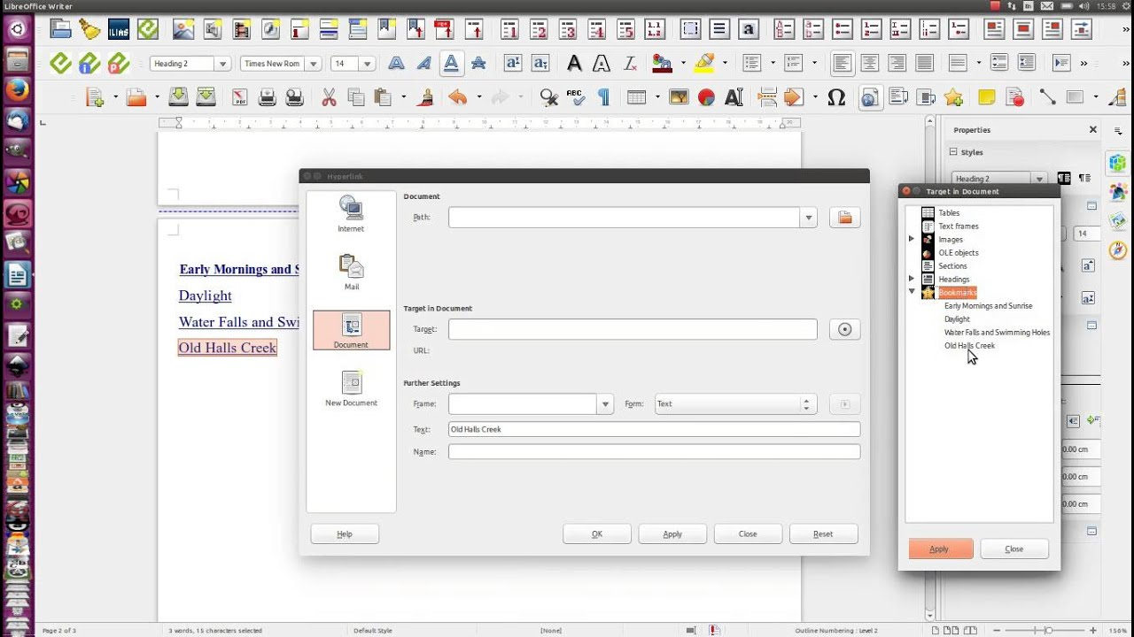 Libreoffice Hyperlinked Table Of Contents Youtube