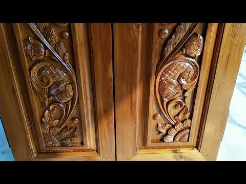Wood carving double door peacock design