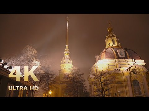 Saint Petersburg in the lantern's light. Night Winter Russia. Relaxation film 4K UHD