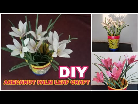 DIY Rain Lilly from Palm Leaves | Homemade simple arecanut palm leaf craft | CraftIndia