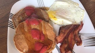 Banana Cinnamon Pecan Pancakes Recipe/Cooking & Eating Sounds- ASMR