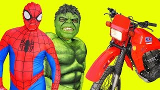 Spiderman and Hulk in Real life riding on the motorcycle