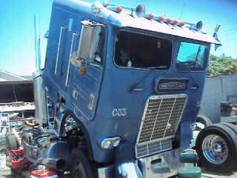 Freightliner cabover with Detroit 12v71 - YouTube