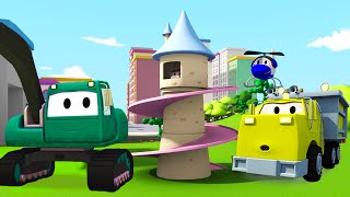 Construction Squad: the Dump Truck, the Crane and the Excavator build a Princess Tower in Car City