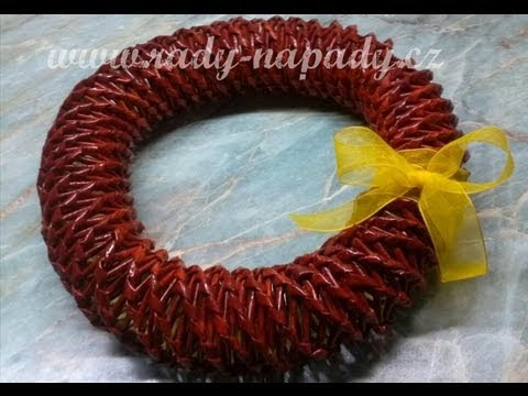 Pletení z papíru - velikonoční vánoční věnec - diy - YouTube aea5f1851ed