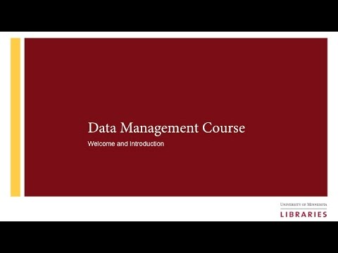 Data Management Course: Introduction to Data Management