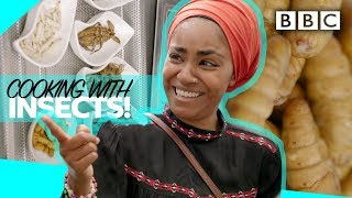 Nadiya eats insects for the first time! - BBC