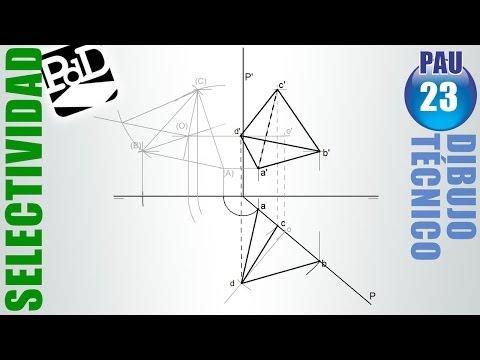 PAU #023 Diédrico:Tetraedro conocida una arista de una cara vertical (Selectividad Madrid/2009)