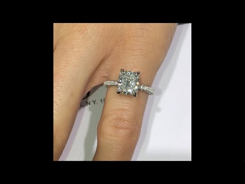 3 Carat Cushion Diamond Engagement Ring With 3 Rows Of