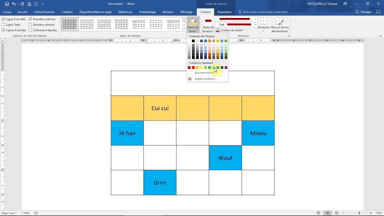 Gérer un TABLEAU avec WORD - Formation Microsoft Office - YouTube