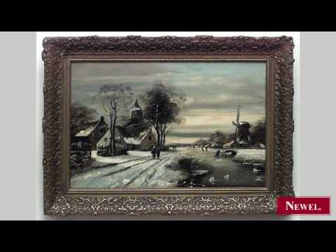 Antique Continental Dutch style gilt framed oil painting