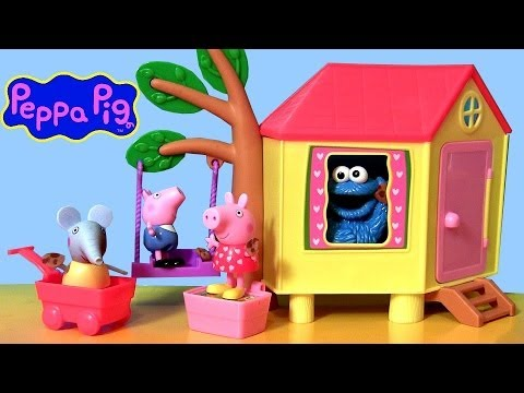 Peppa Pig Treehouse Picnic Set with Cookie Monster Play Doh Peek