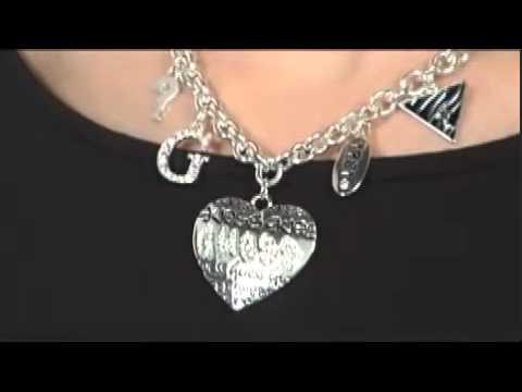 GUESS - Grafitti Logo Heart Charm Necklace SKU:#8072598