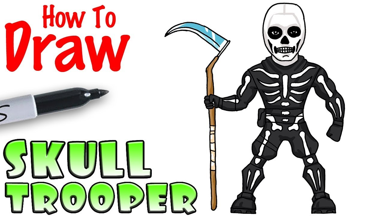 How To Draw Skull Trooper Fortnite Youtube
