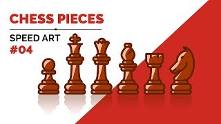 Chess pieces | How to draw | Icons | Speed Art | Illustrator