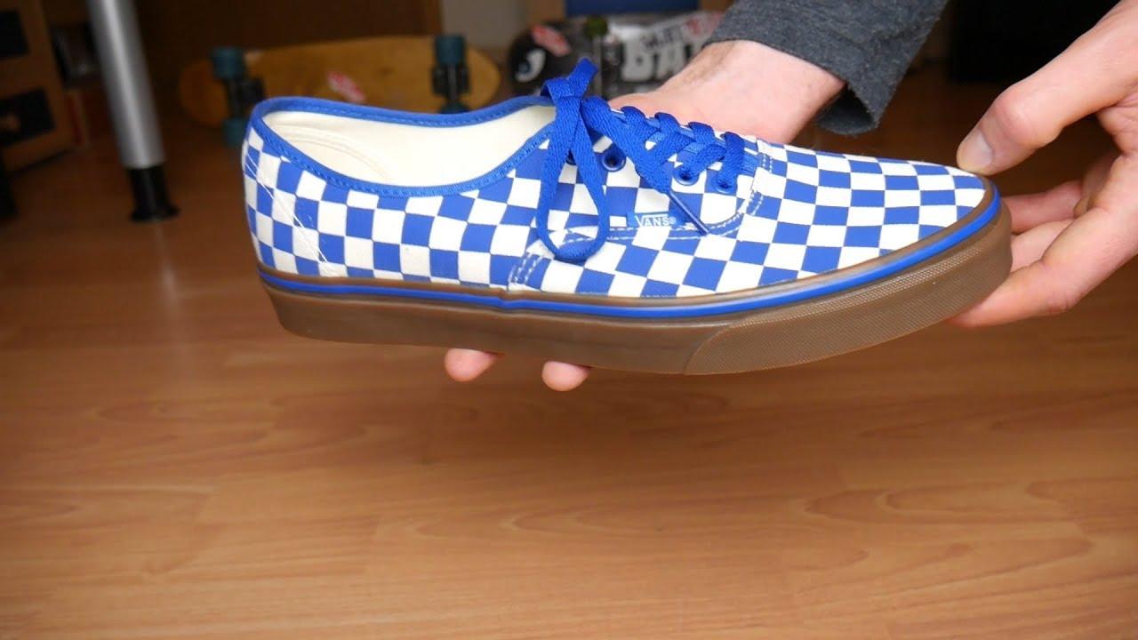 blue checkerboard vans authentic