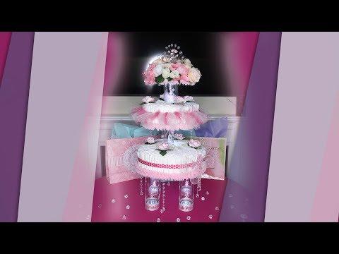 Three Tiered Princess Ballerina Themed Diaper Cake Centerpiece - How to DIY