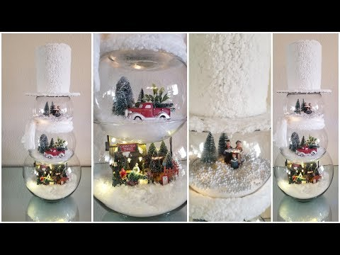 GLASS SNOWMAN WITH 3 LIGHT UP SCENERY | QUICK AND EASY DIY | HOLIDAY DECOR