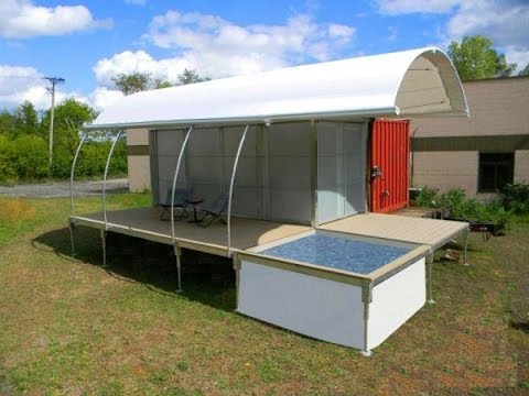 500 square foot off grid shipping container home with pool youtube. Black Bedroom Furniture Sets. Home Design Ideas
