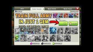 Train Full Army in Just 1 GEM TRICK   COC Train Army in 5 Sec   Clash of Clans Videos
