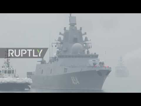 China: Russian frigate Admiral Gorshkov arrives in Qingdao for Chinese Navy anniversary celebration