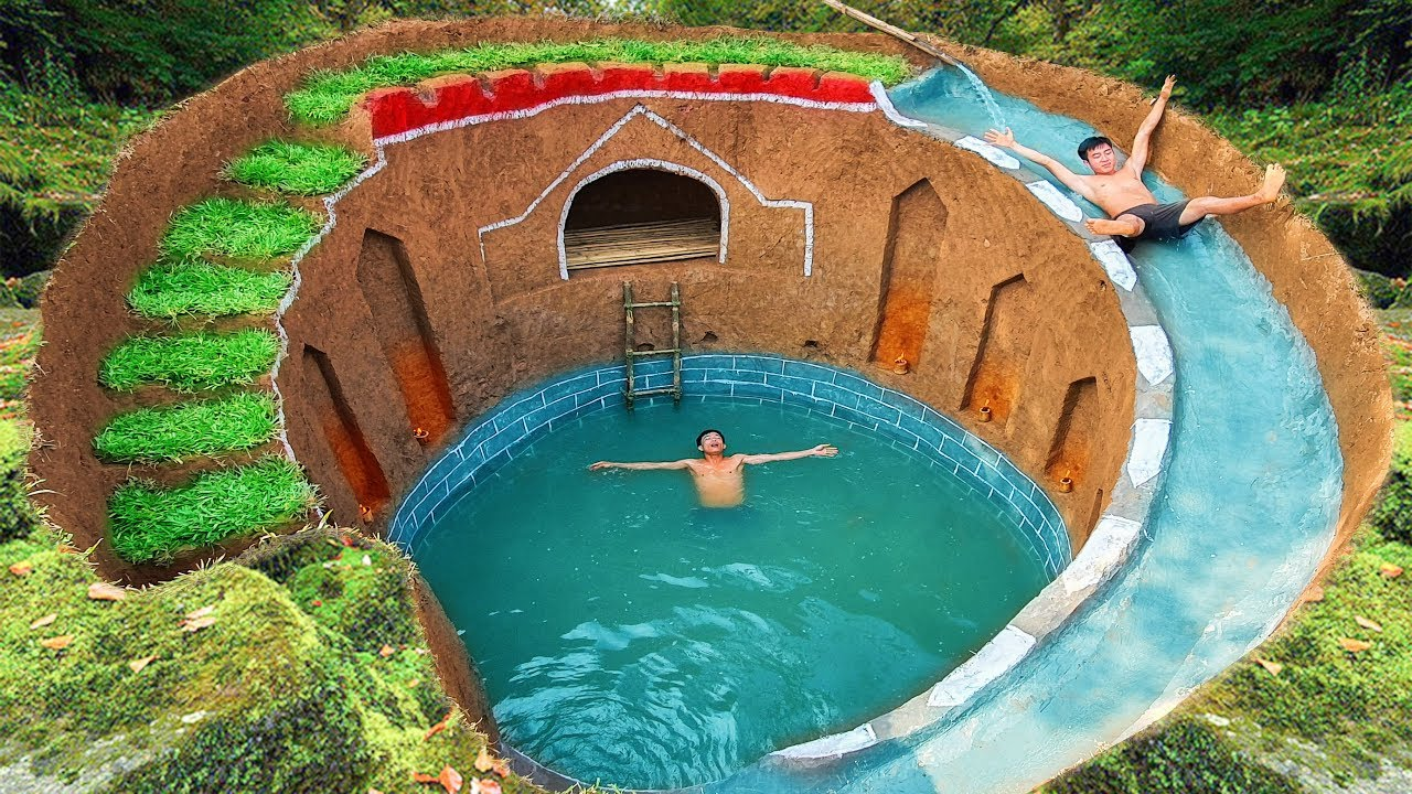 How To Build Swimming Pool Water Slide Around Secret Underground House
