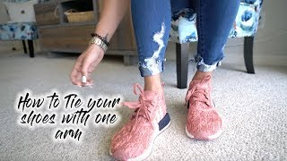 HOW TO TIE YOUR SHOES WITH ONE ARM | ONE ARM TUTORIALS thumbnail