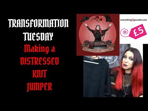 Transformation Tuesday - Making A Distressed Knit Jumper