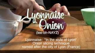 How To Lyonnaise Onion, Slicing An Onion To Create Long Thin Strips